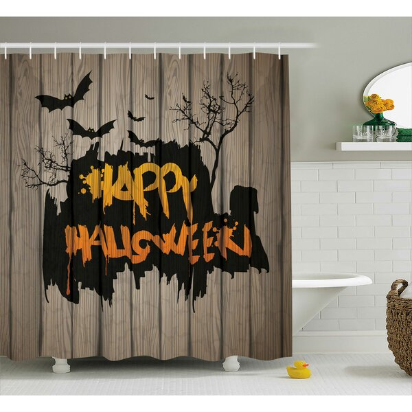 Halloween Decor Quote Bats Art Shower Curtain by The Holiday Aisle