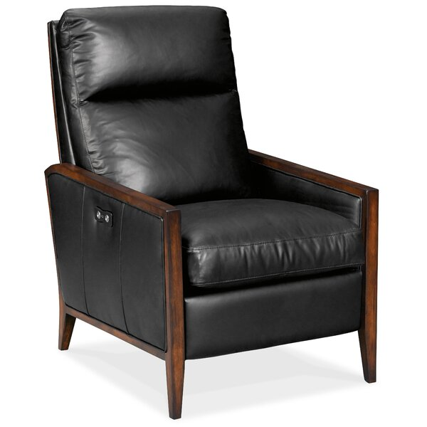 Karter Wood Accent Leather Power Recliner by Hooker Furniture