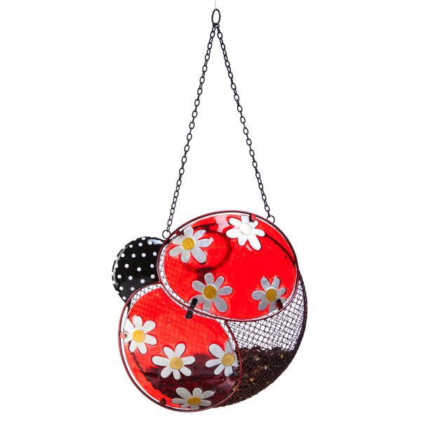 Dots and Blossoms Inspirational Ladybug Decorative Bird Feeder by New Creative