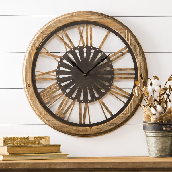 Jevin Round Brown Wood 19.25 Wall Clock by 17 Stories
