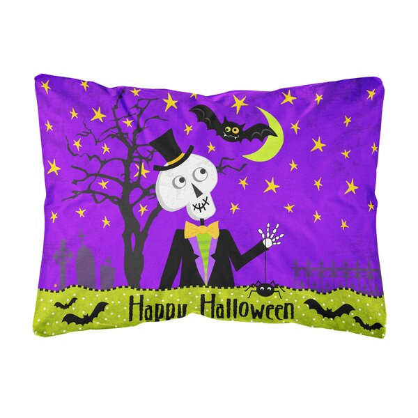 Juin Happy Halloween Skeleton Fabric Indoor/Outdoor Throw Pillow by The Holiday Aisle