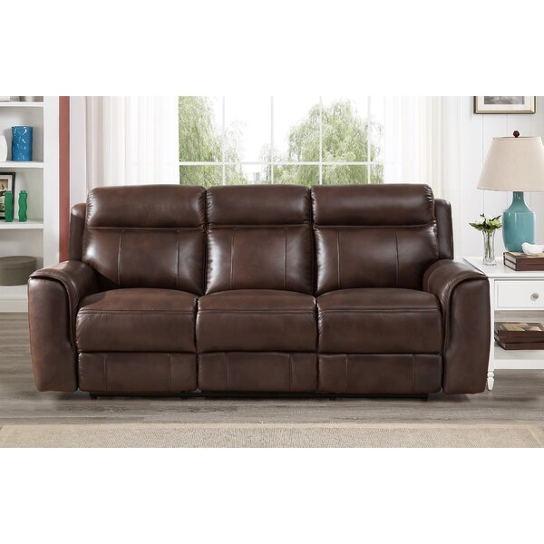 Gurley Leather Reclining Sofa by Red Barrel Studio