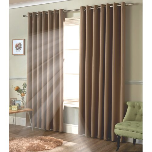 Strome Eyelet Blackout Thermal Curtains Marlow Home Co. Colour: Beige, Panel Size: 116 W x 137 D cm