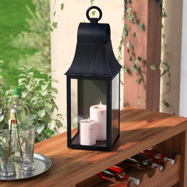 Outdoor Wall Mount Glass and Metal Lantern by Three Posts