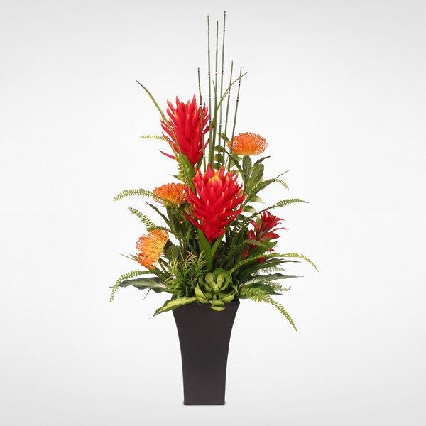 Tropical Protea with Artificial Succulents Floral Arrangement in Pot by Red Barrel Studio