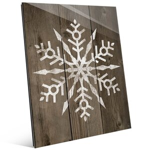 'Fancy Snowflake on Deck' Graphic Art on Glass Plaque