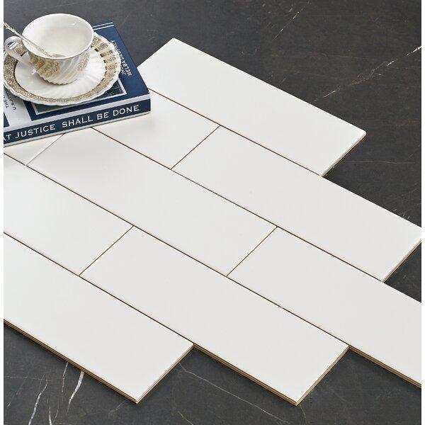 Hudson 4 x 12 Ceramic Subway Tile in Matte White by Walkon Tile