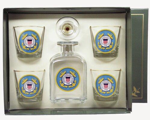 5-Piece Coast Guard Decanter Set by Richard E. Bishop