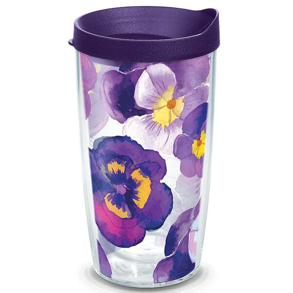Garden Party Watercolor Pansy Plastic Travel Tumbler by Tervis Tumbler