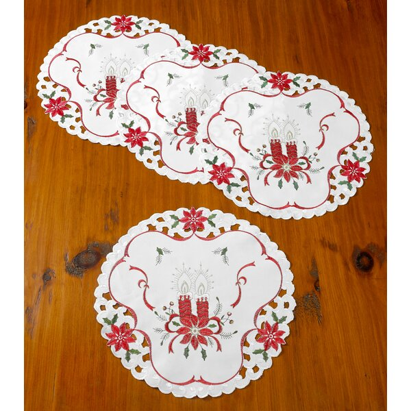 Delsur Embroidered Poinsettias Candles Doily Round 16 Placemat (Set of 4) by The Holiday Aisle