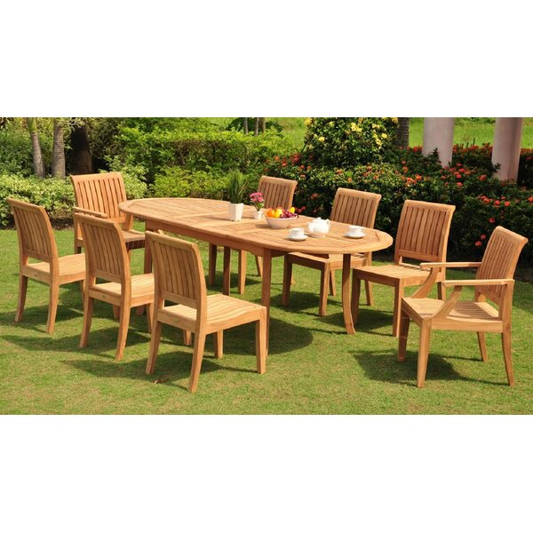 Linco Luxurious 9 Piece Teak Dining Set by Rosecliff Heights