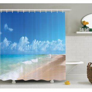 Affordable Nautical Tropical Ocean Waves Shower Curtain Set ByAmbesonne