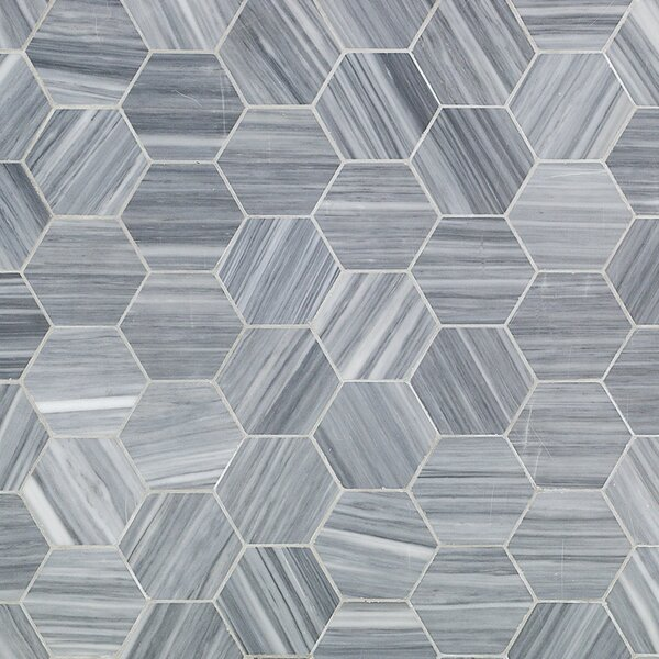 Legano Honeycomb 4 x 4 Marble Mosaic Tile in Gray by Splashback Tile