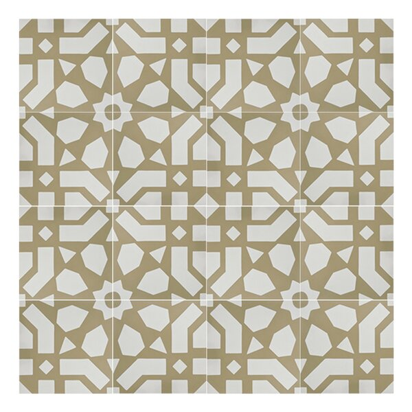 Azilal 8 x 8  Handmade Cement Tile in Gold/White by Moroccan Mosaic