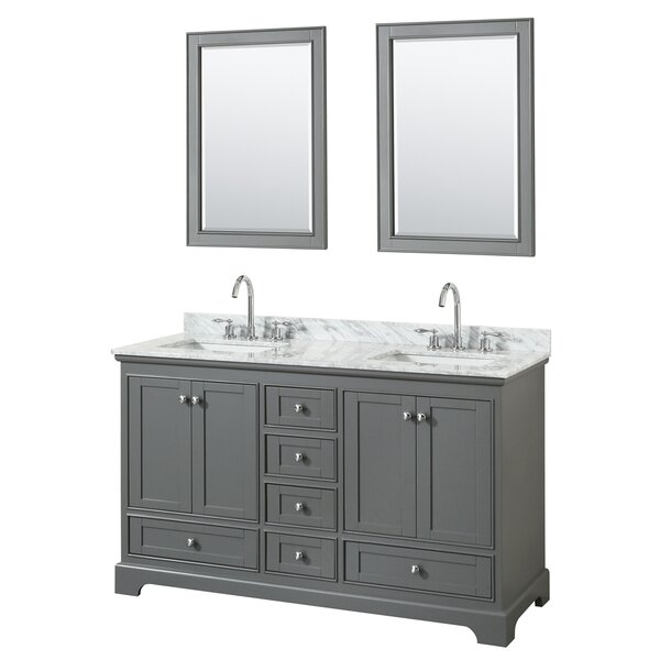 Deborah 60 Double Bathroom Vanity Set with Mirror by Wyndham Collection