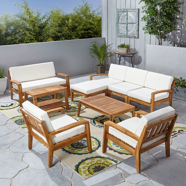 Rumph 9 Piece Sectional Seating Group with Cushions by Breakwater Bay