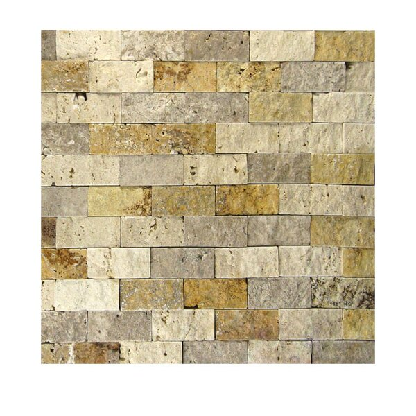 1 x 2 Natural Stone Mosaic Tile in Gold/Noce by QDI Surfaces