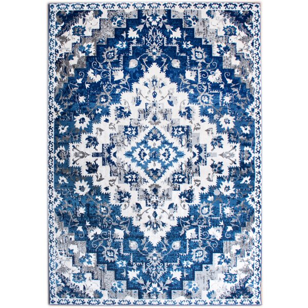 Rosie Southwestern Diamond Distressed Blue/Ivory Area Rug by Bungalow Rose