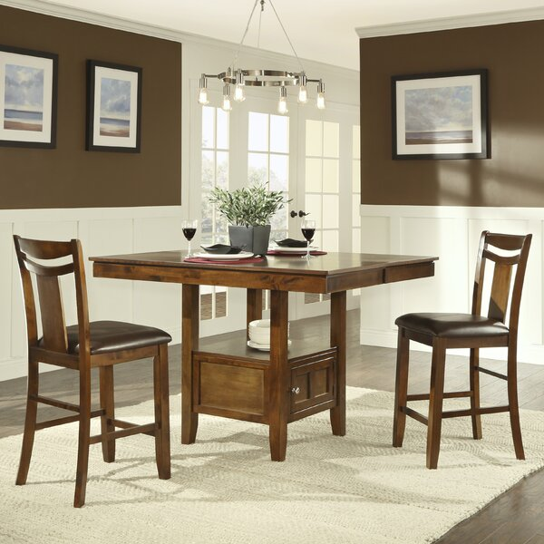 Dahlonega 3 Piece Counter Height Extendable Dining Set by Charlton Home