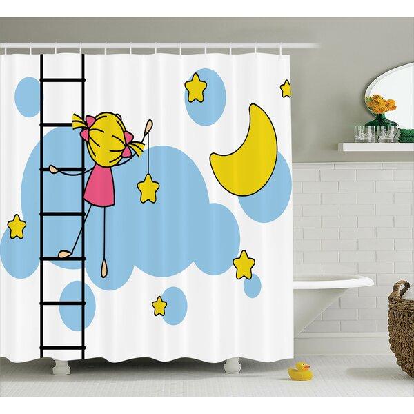 Joann House Little Girl Ladder Hanging a Star Shower Curtain by Harriet Bee