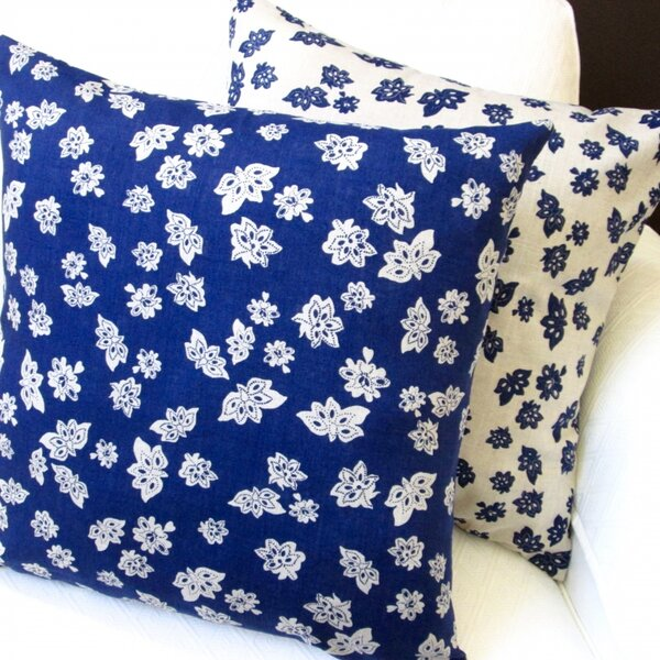 Tossed Flowers Linen Reversible Pillow Cover by Artisan Pillows