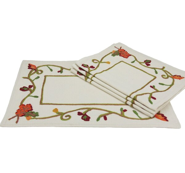 Harvest Vine Crewel Embroidered Harvest Placemat (Set of 4) by Xia Home Fashions