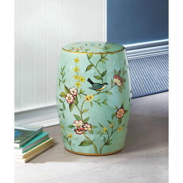 Janke Floral Garden Stool By Bungalow Rose
