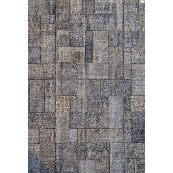 Patchwork Hand-Knotted Gray/Silver Area Rug by Pasargad
