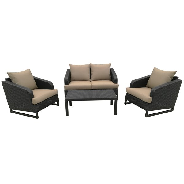 Molinaro 4 Piece Rattan Sofa Seating Group with Cushions by Alcott Hill