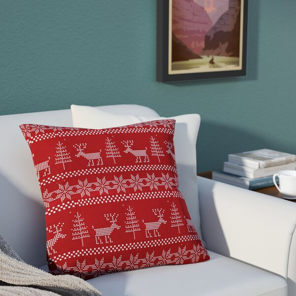 Christmas Deer Throw Pillow by East Urban Home