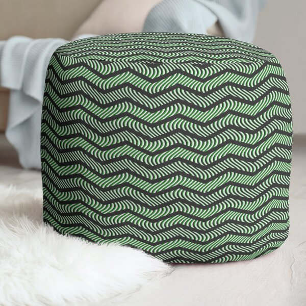 Wavy Chevrons Pouf by East Urban Home