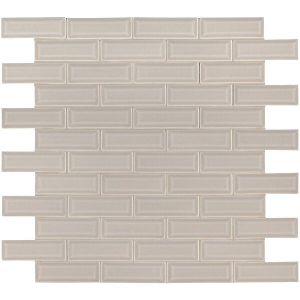 Portico Glazed Mesh Mounted 2 x 6 Beveled Ceramic Mosaic Tile in Beige by MSI