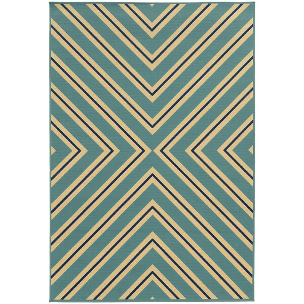 Heath Blue/Ivory Indoor/Outdoor Area Rug by Ebern Designs