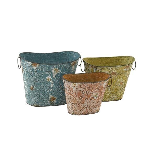3-Piece Tin Pot Planter Set by Cole & Grey