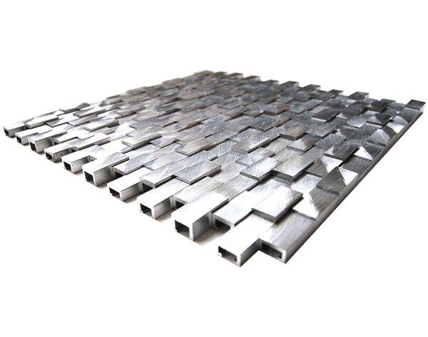 3D Raised 11.8 x 11.8 Aluminum Mosaic Tile in Silver by Eden Mosaic Tile