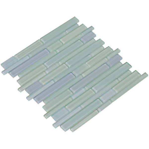 Mahi 12 x 12 Glass Mosaic Tile in Sky Blue/Foam Green by Mirrella