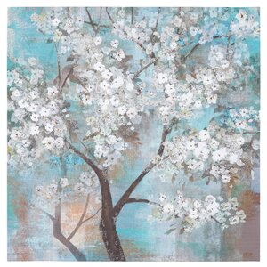 Tree In Bloom Painting on Wrapped Canvas by Bungalow Rose