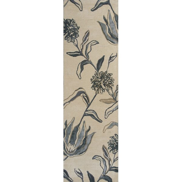 Odile Ivory/Blue Wildflowers Area Rug by Red Barrel Studio