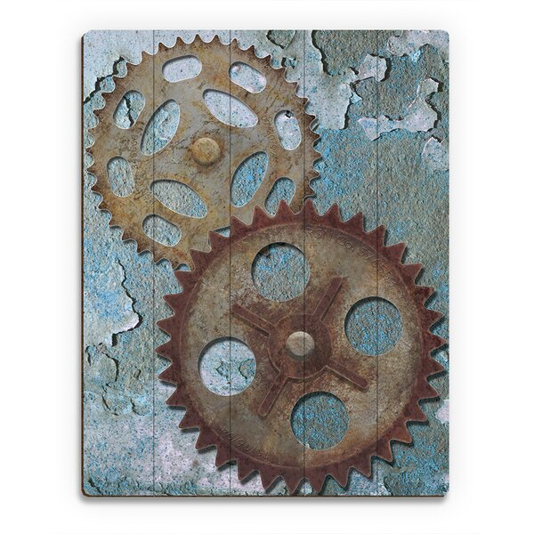Double Gear Graphic Art on Canvas by Click Wall Art