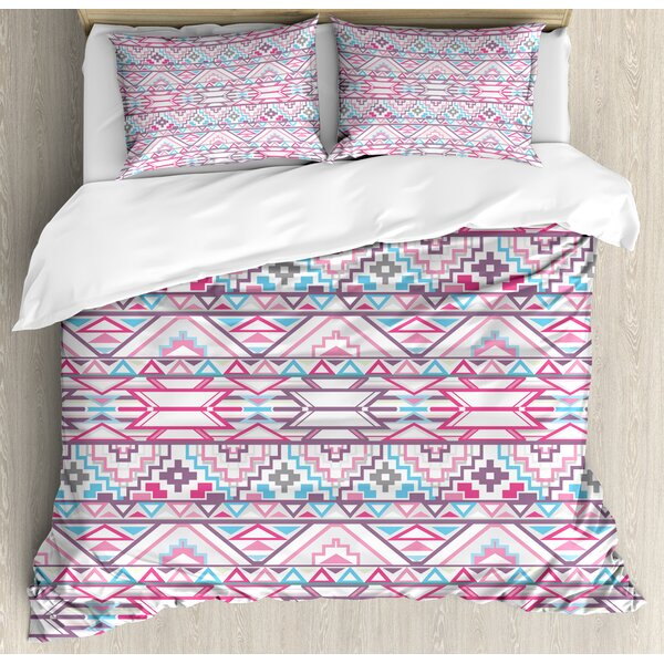 Ikat Style Abstract Geometric Native American Aztec InspiArtwork Duvet Set by East Urban Home