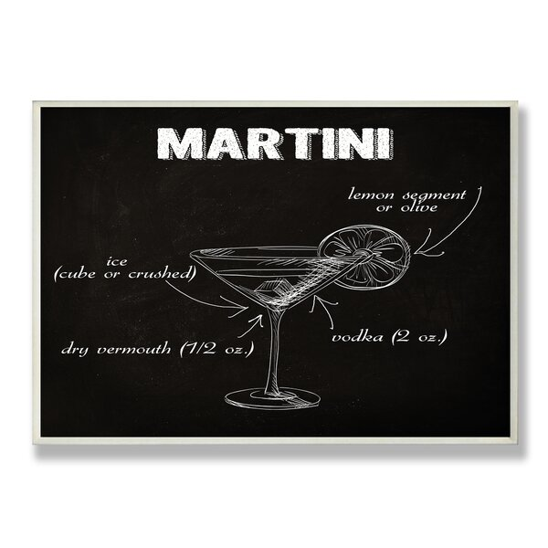 Classic Martini Chalkboard-Look Textual Art Wall Plaque by Stupell Industries