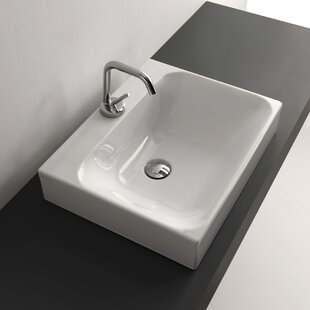 Compare Cento Ceramic Ceramic Rectangular Vessel Bathroom Sink with Faucet ByWS Bath Collections