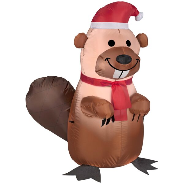 Holiday Beaver with Santa Hat and Scarf Inflatable by The Holiday Aisle