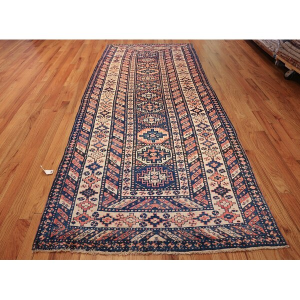 One-of-a-Kind Caucasian Hand-Knotted 1900s Caucasian Blue 4'6 x 10'9 Runner Wool Area Rug