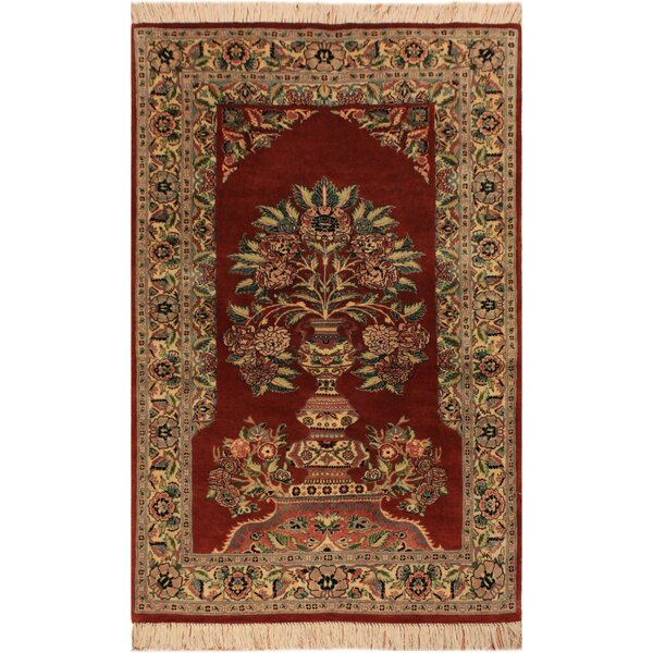 One-of-a-Kind Aaru Hand-Knotted Wool Rust/Ivory Area Rug by Isabelline