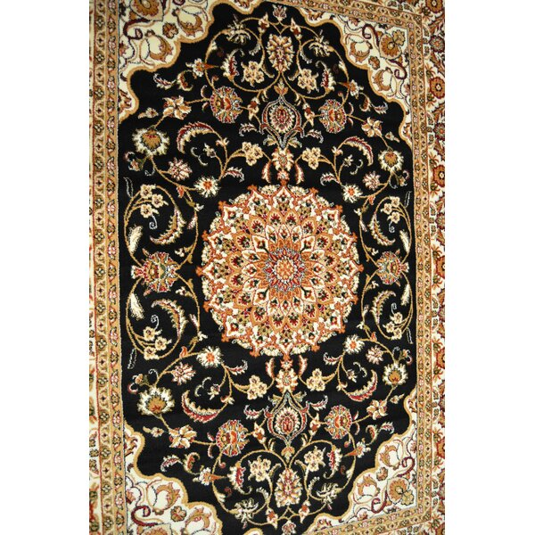 Prunella Floral Persian Oriental Black Area Rug by Astoria Grand