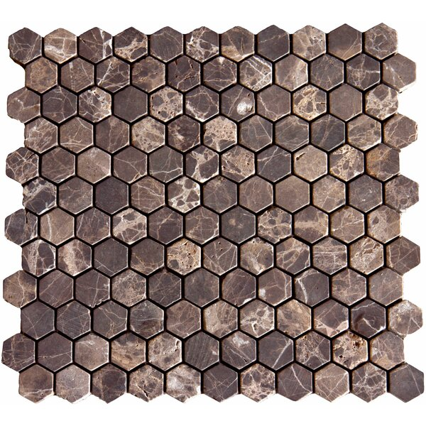 1 x 1 Marble Mosaic Tile in Unpolished Emperador Dark by MSI