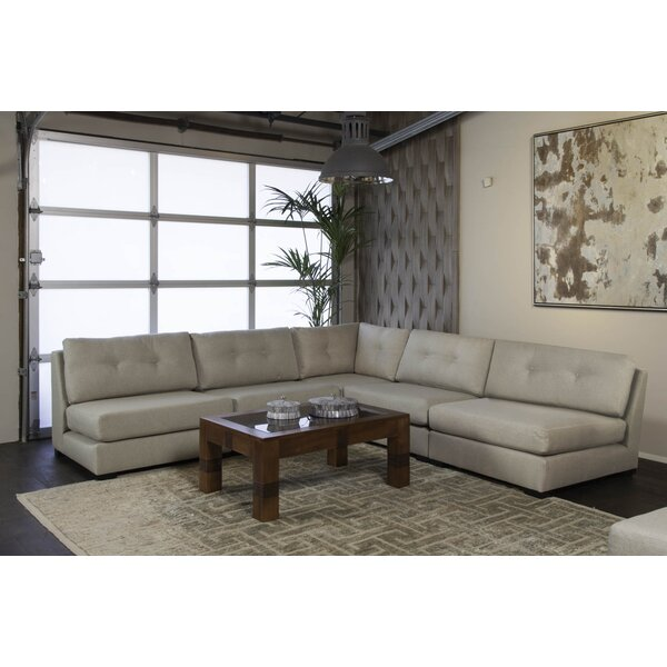 Glaude Buttoned L-Shape Simple Modular Sectional By Brayden Studio