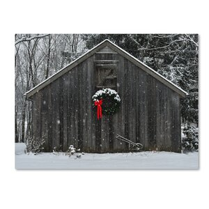 Christmas Barn in the Snow Framed Photo Graphic Print on Canvas by Trademark Fine Art