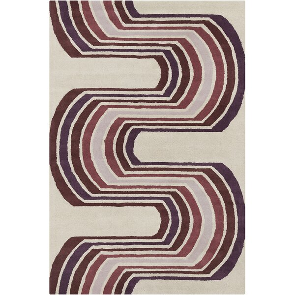 Oritz Hand Tufted Wool Cream/Lavender Area Rug by Brayden Studio